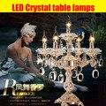 Candeeiro de mesa de cristal candelabros centrais do casamento de cristal moderna de vidro candelabrawedding castiçal decoração da tabela do casamento