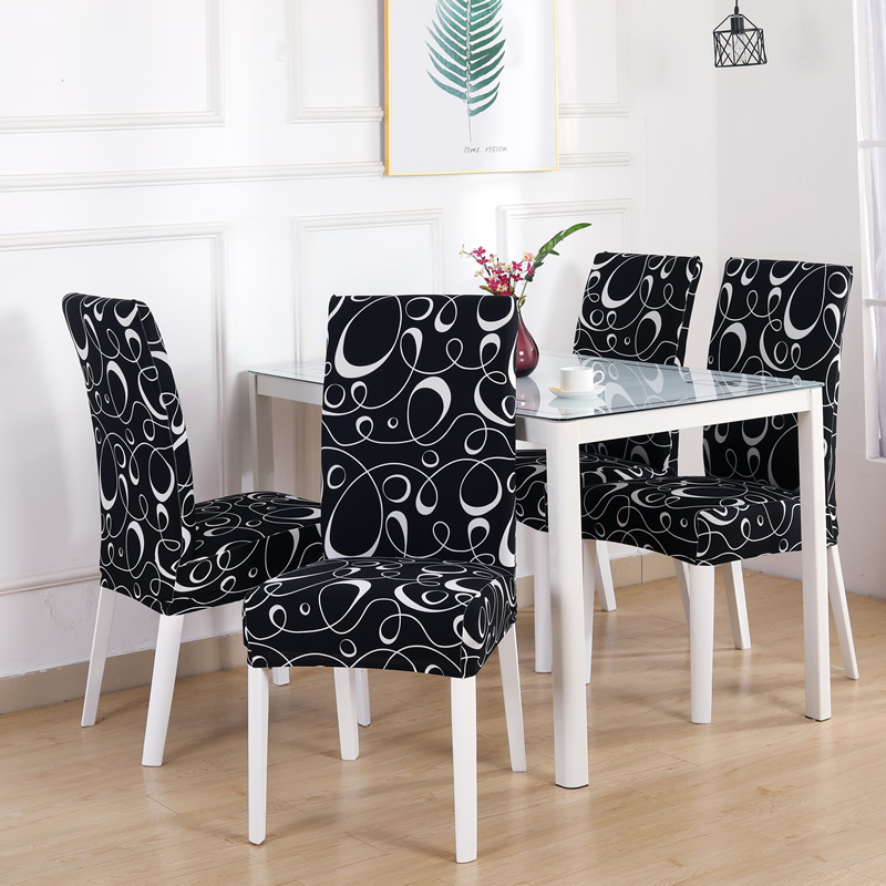 4/5/6 Pieces Black White Line Chair Cover Washable Removable Big Elastic Seat Covers Slipcovers Stretch For Banquet Hotel Dining