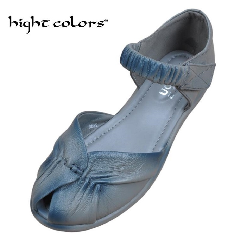 2018 summer vintage Genuine leather shoes fish head hollow mother middle-aged women sandals soft bottom flat shoes size 34~41 ...
