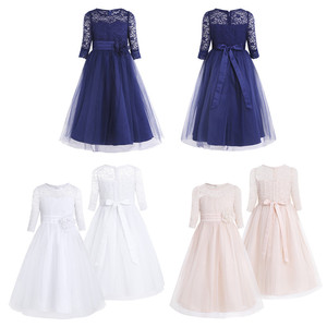 Image 2 - Girls Floral Lace Mesh Half Sleeves Flower Girl Dress A Line Tea Length Princess Pageant Birthday Wedding Party Dress SZ 4 14