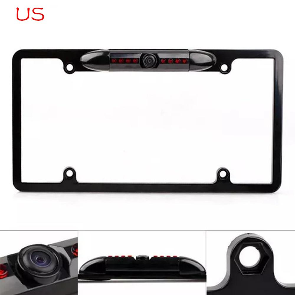 New Car Rear View Backup Camera 8 Ir Night Vision Us License Plate Frame Cmos Bt Vehicle Electronics Gps Consumer Electronics