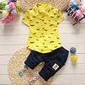 2016 Verão Meninos Roupas Ternos Do Bebê Estilo Gentleman Crianças Linda barba Lapela Shirt + Calças 2 Pcs Infantis Trajes Casuais crianças Sets