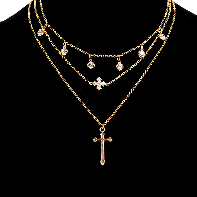 Gold Multi Layer Necklace In Crystal Pendant Necklaces For Women Eleglant Layered Chain Gold Color Cross Choker Necklace Fashion (4)