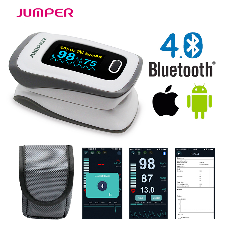 2017 JUMPER newest Bluetooth Fingertip Pulse Oximeter Oximetro de dedo Blood Oxygen Saturation Oximetro a finger for Health Care anti shaking fingertip pulse oximeter blood oxygen saturation monitor oximetro de pulso portable pulsioximetro