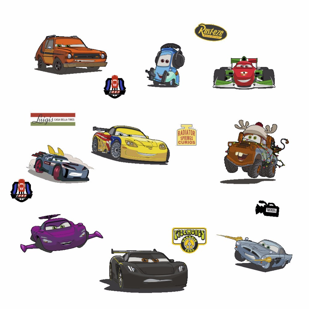 Bedroom bedside cartoon car wall sticker decoration cute talking speed baby room game sticker wallpaper on the wall decals