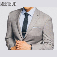 MEETBUD Fashion Brand Custom Made Men Suit Wedding Light Grey Wool Suit Set Business Casual Party Slim Dress Suits Tailor made