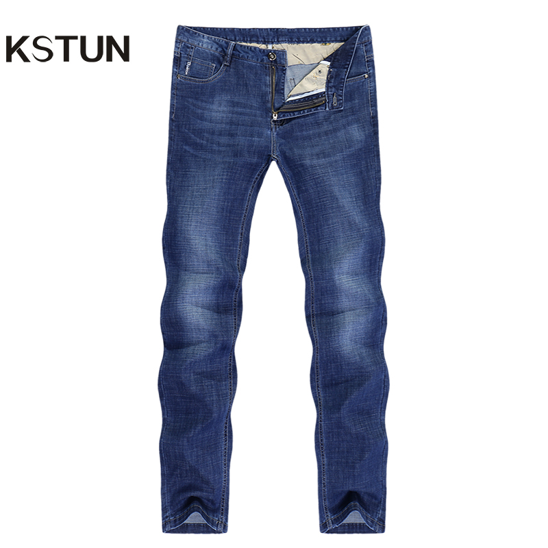 Men's Jeans Stretch Solid Blue Straight Classic Regular Fit Jeans Fashion Pockets Leisure Businessman Long Trousers Male Homme