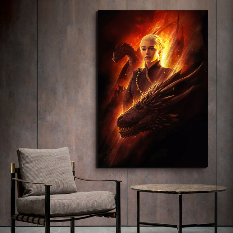 Game of Thrones Daenerys Targaryen Poster Artwork Paintings A Song of Ice and Fire Dragon Picture Wall Painting for Home Decor(China)
