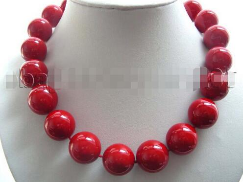 18 Natural 20mm Red Round Shell Pearl Necklace