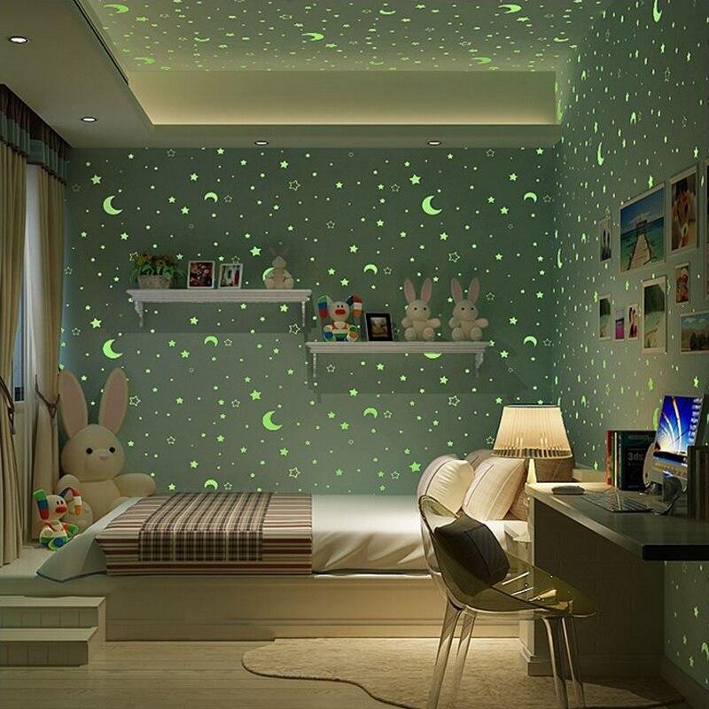 NEW Cute Cartoon Starry Moon Luminous Kids Room Wall decor paper Boys Girl Bedroom Study Green Nonwovens Wallpaper Kids Paradise