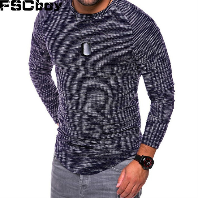 2796ea0b FSCboy Men's Muscle T ShirtsSpring Fashion Male Extreme Muscle Fit Long  Sleeve T-Shirt with O Neck Bodybuilding Fitness Men Tops