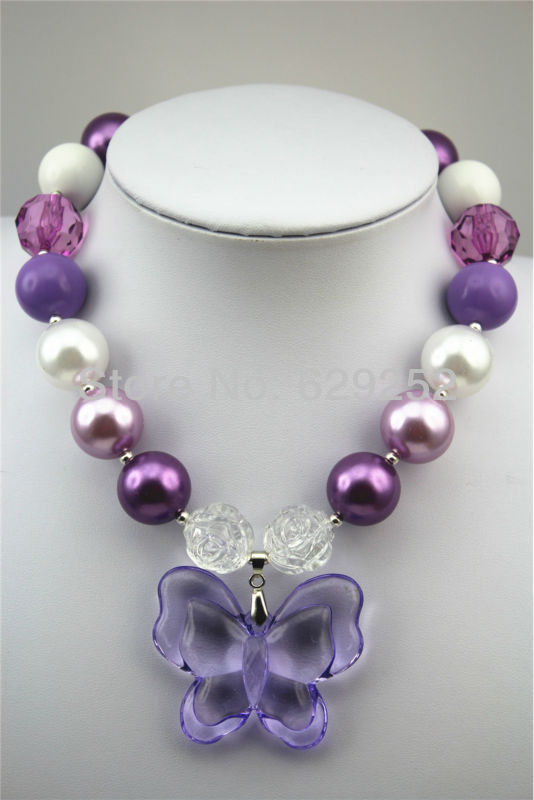10pcs lot New arrival Purple Butterfly chunky necklaces