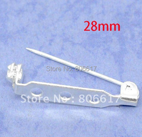 Best Quality 100 Pcs Silver Plated Brooch Back Bar Pin Findings 27mm DIY Accessory Jewelry Making(W00598)