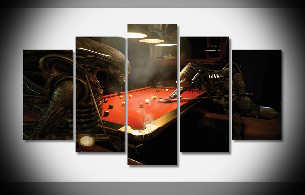 8232 Aliens vs Predator Play Billiards Movie poster Framed Gallery wrap art print home wall decor wall picture Already to hung