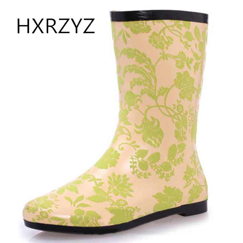 HXRZYZ Women rain boots female slip-resistant rubber ankle boots spring/autumn new fashion Printing Waterproof shoes women large size spring autumn fashion shoes women rain boots female elastic band slip resistant ankle boots waterproof rubber boots