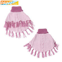 PAWZRoad Dog Clothes Pet Apparel Fashion Cute Pink Winter Warm High-necked Tassels Shawl Sweater Pet Dog Clothes Free Shipping(China)