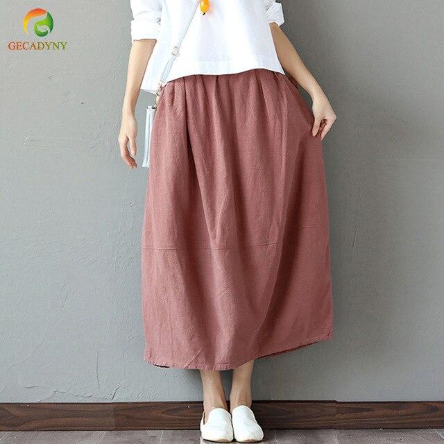 4f134315b Girls Summer Cotton Linen High Waist Midi Skirt Women Vintage Chinese  Ethnic Style Pink Black Navy