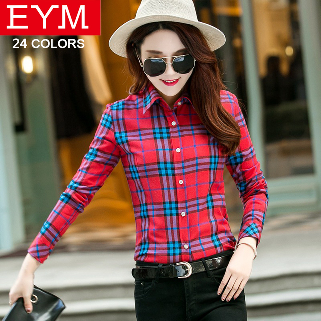 537b2820e88 Women s Plaid Shirt Blusas Cotton Long Sleeve Blouses 2018 New Fashion Female  Casual Plus Size Office Style Women Clothing Shirt