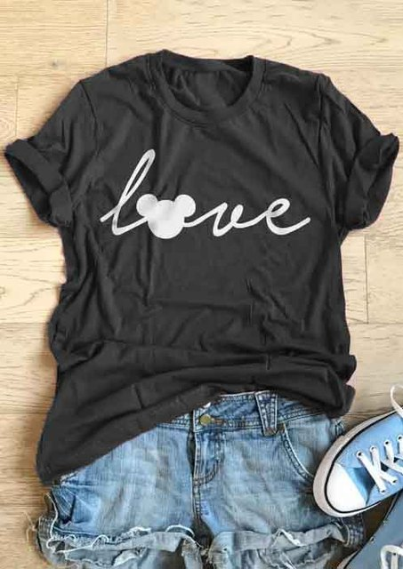 Love Mouse Short Sleeve T-Shirt Women Funny Graphic tees Fashion Clothes tees Basic cool tops t shirt tshirt