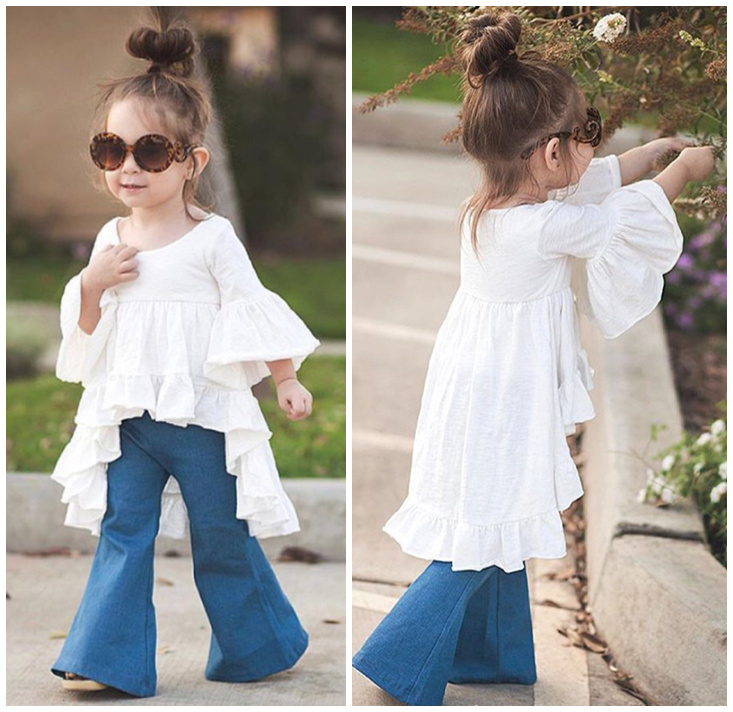 2016 Newest Baby Girl Tops Ruffles Blouses Vintage Fashion Flare Sleeve Dress Cute Europearn