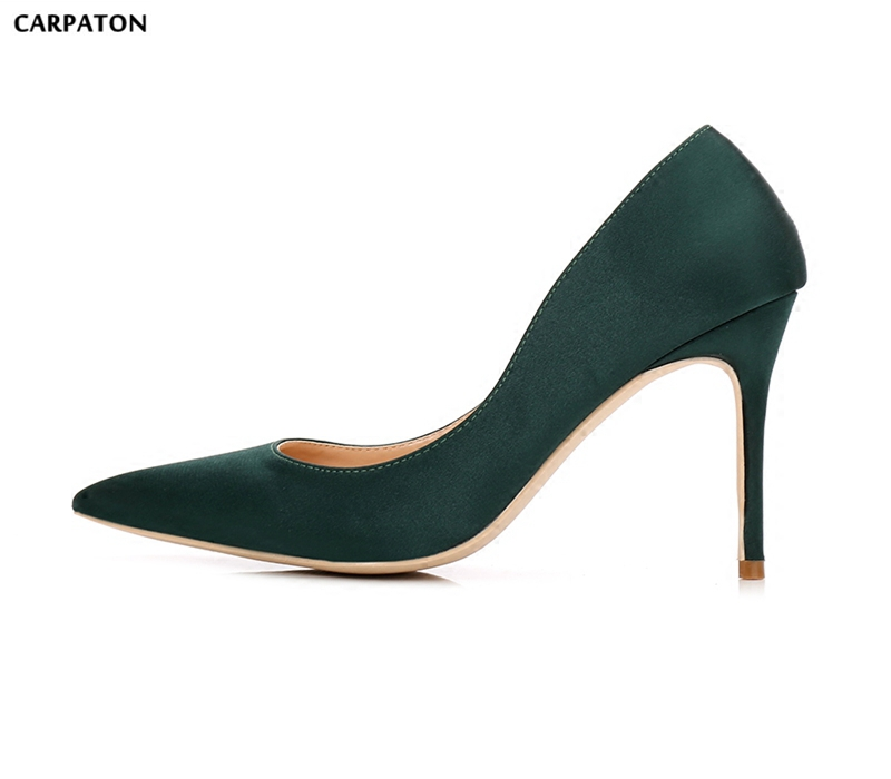 Carpaton Classic Pointed Toe Thin Heels Shoe for Woman 2018 Sexy Satin Slip-on Dress Shoes Fashion Office Lady Heels new stylish designer lady high heels shoes pointed toe concise slip on office career shoes woman string metal bead shoe edge