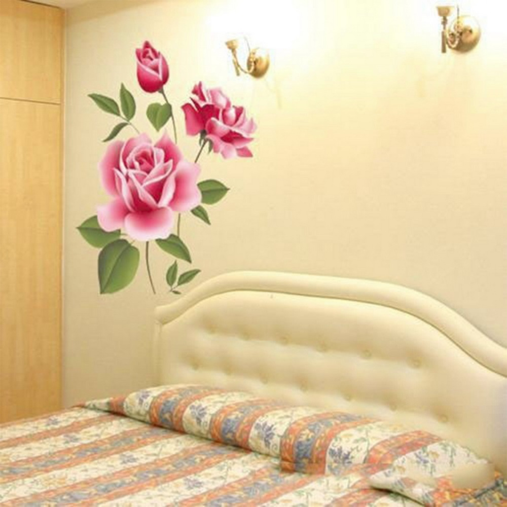 Popular Romantic Love 3D Rose Flower Wall Stickers Removable Decal ...