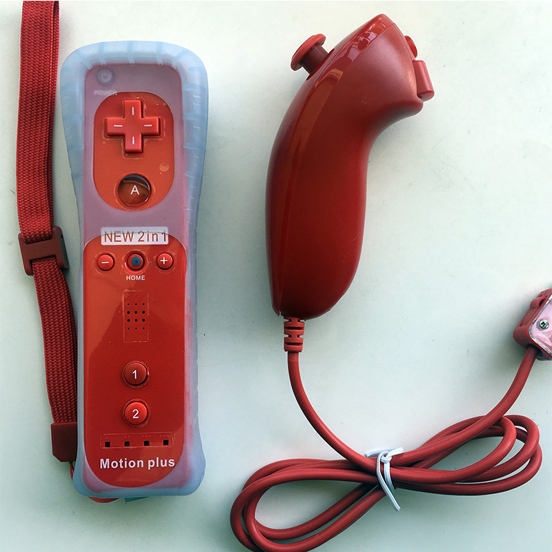 2-in-1 Wireless Remote Controller+Nunchuk Control for Nintendo Wii Motion Plus game console with Silicone Case Accessories goigome nunchuck remote controller w motion plus silicone case for wii white black 2 x aa
