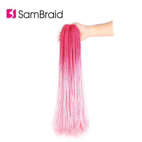 SAMBRAID Senegalese Twist Hair Crochet Braids Synthetic Braiding Hair Extensions 24 Inch 30 Roots/pack Afro Crotchet Ombre Hair Islamabad