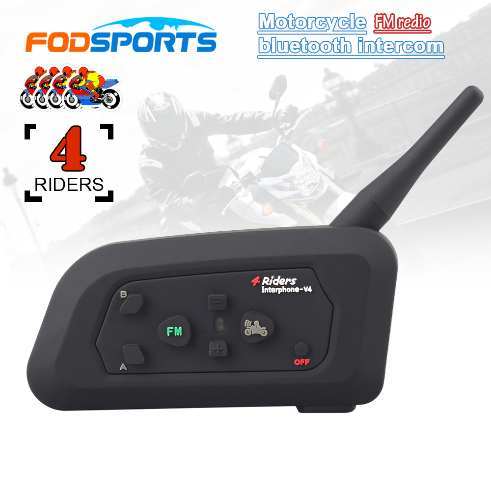 2017 Fodsports V4 Motorcycle Helmet Bluetooth Headset Intercom 4 Riders 1200M Wireless Intercomunicador BT Interphone FM Radio 2pcs bt s2 intercom 1000m motorcycle helmet bluetooth wireless waterproof headset intercom earphone 2 riders interphone fm radio