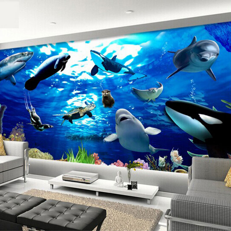 Animal Print Wallpaper For Walls Underwater World Blue Ocean Dolphin Shark Photo Mural 3d