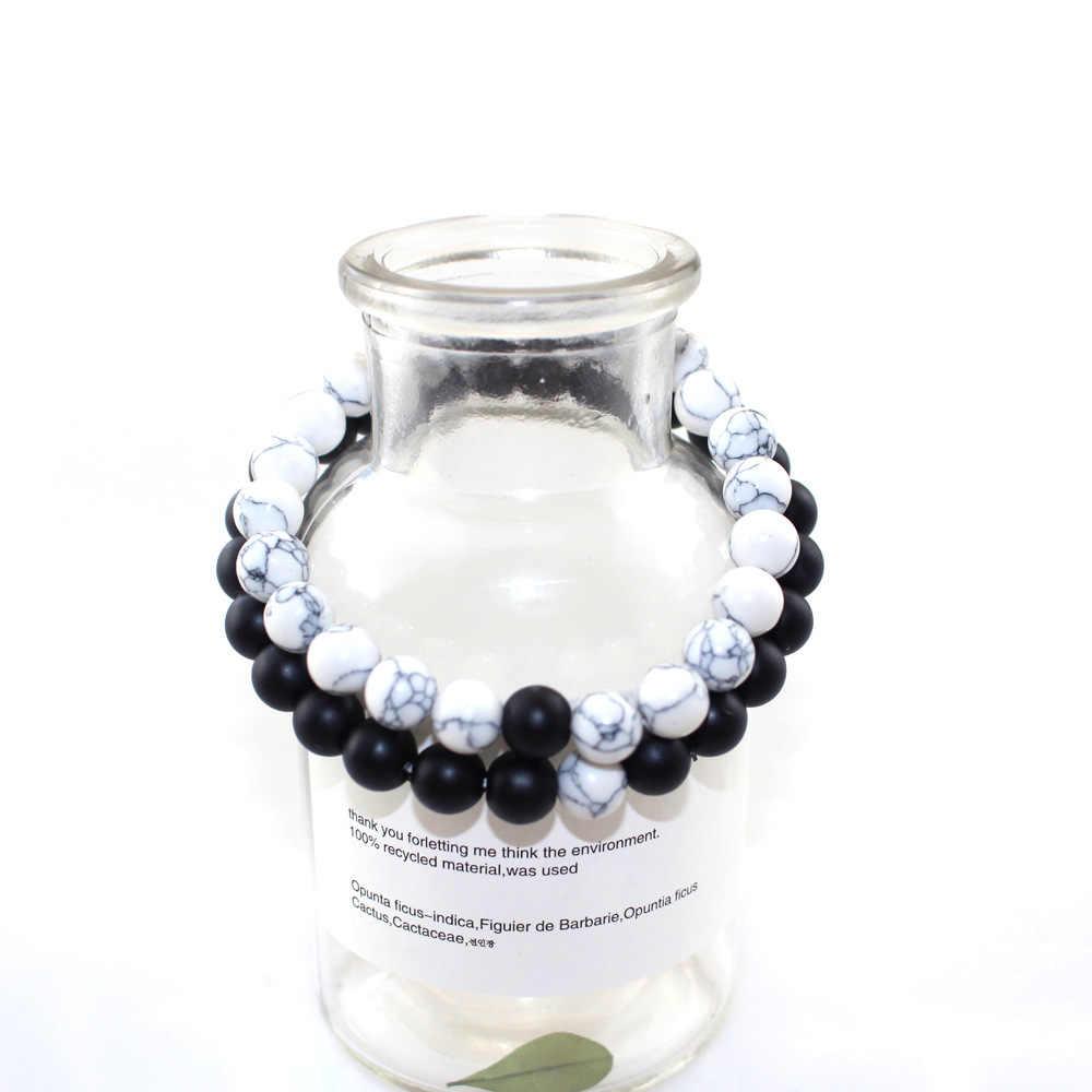 Pulsera de distancia de cuentas de piedra blanca negra de moda turmalina Lava Yoga hebra pulsera para Mujeres Hombres pareja brazaletes joyería