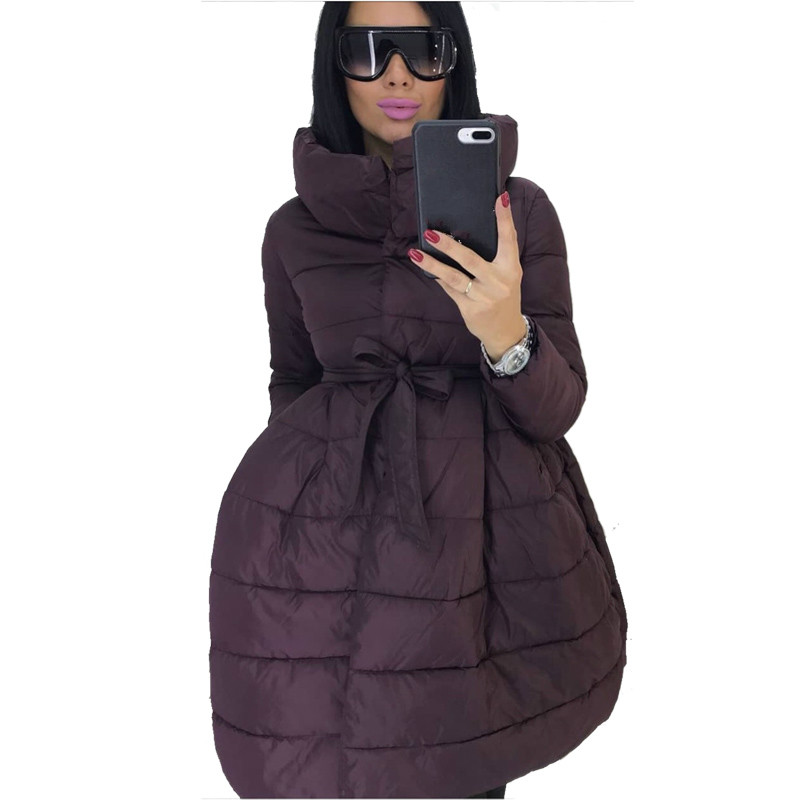 Winter Coat Women Skirt   Parka   Fashion Bowknot Waist Medium Long Stand Collar Cotton Padded Warm Jacket Chaqueta Mujer Invierno