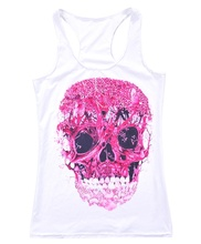 White Women Sports Tank Tops Lady Sexy Sleeveless T Shirt Clothes Elastic Yoga Running Pink Skull Vests Camisole Digital Print