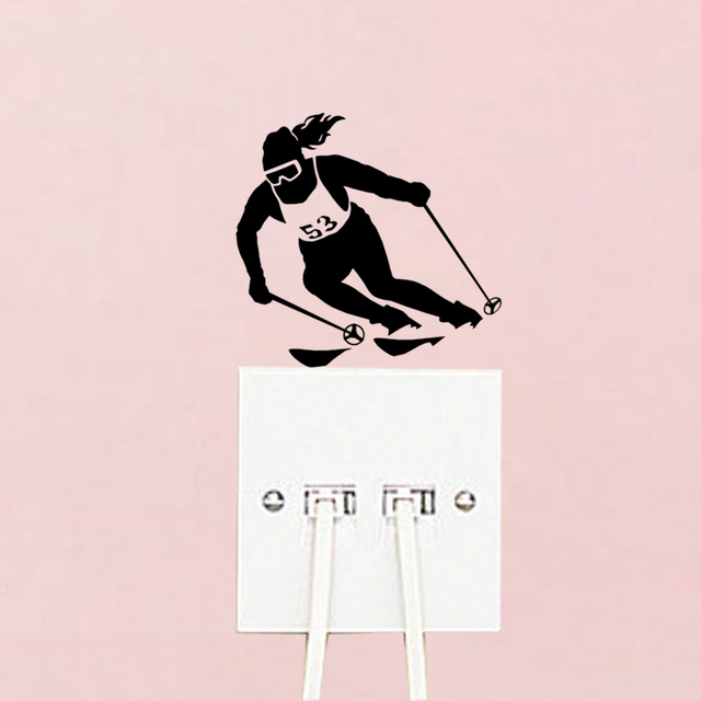 Ski skiing skier fashion decor vinyl wall decals room switch stickers 5ws1398