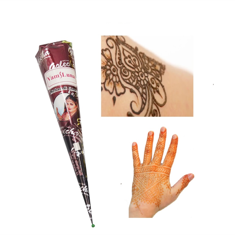 Henna Tattoo Color Brown: 1X Natural Henna Paste Brown Color Mehndi Cone Body Art