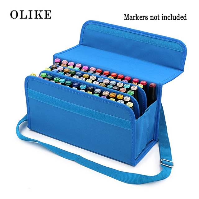 6ffa826c9e59 US $23.99 |OLIKE Marker 80 Holders Organizer Case Storage for Primascolor  Copic Marker So on Fits from 15mm to 22mm Diameter-in Pencil Cases from ...
