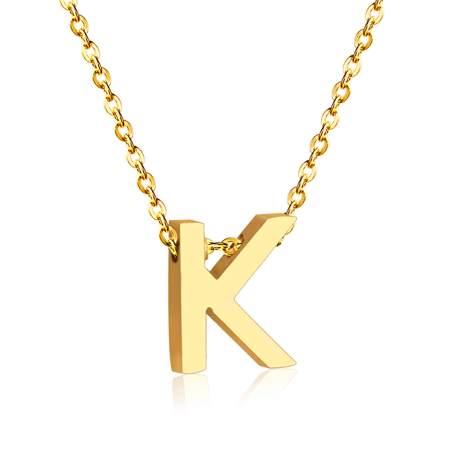 LUXUKISSKIDS Fashion Letter Necklaces Pendants Alphabet Initial Necklace Stainless Steel Choker Necklace Women Jewelry Kolye