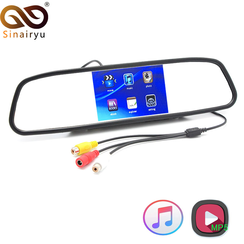 Sinairyu 4.3 TFT LCD Color Car Mirror Monitor Screen with Remote Support 3CH Video Input MP5 USB SD Card For Rear View Camera sinairyu 2in1 7 inch car video parking monitor mp4 mp5 car mirror monitor sd usb with rear view camera hands free