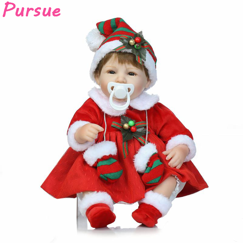 Pursue Silicone Reborn Babies American Girl Newborn Baby Doll Toys for Ggirls Birthday Christmas Gift bebe reborn realista 40 cm new year merry christmas gift 18 american girl doll with clothes doll reborn silicone reborn baby doll our generation doll
