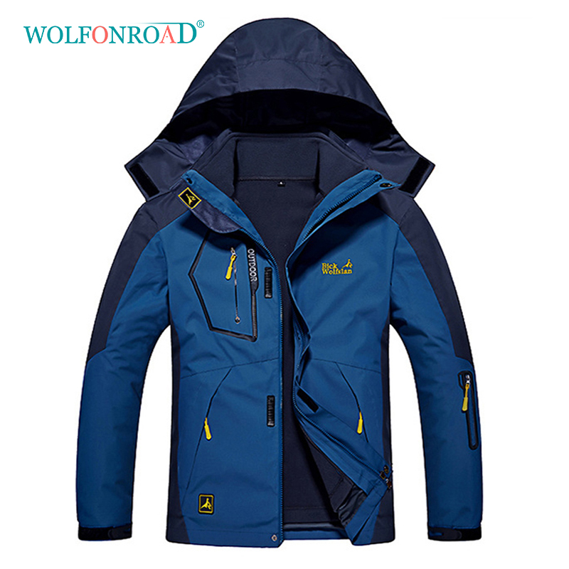 WOLFONROAD Men Women 3 In 1 Jackets Waterproof Sport Outdoor Jackets Mountain Hiking Winter Jacket Big Size Jacket 6XL 7XL 8XL