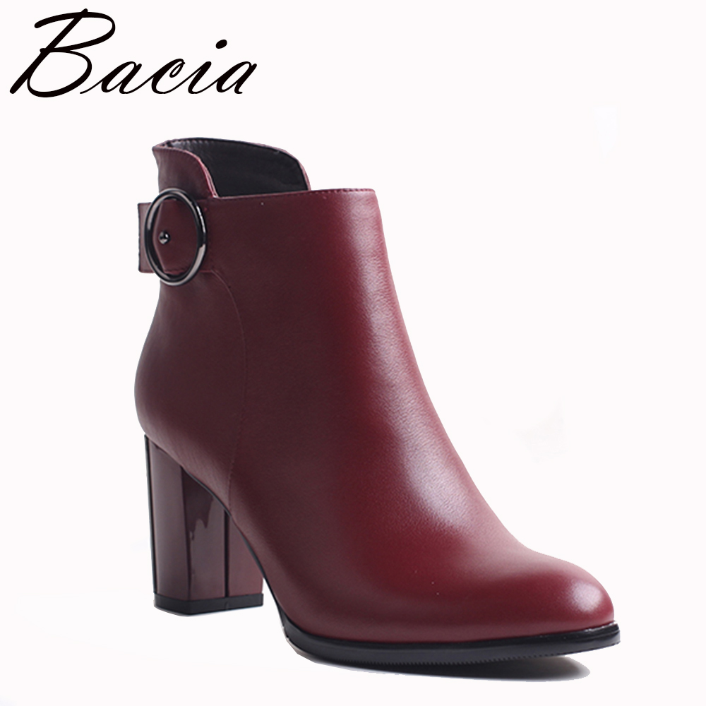 Bacia Ankle Boots Fashion Retro Red Shoes Handmade Good Quality Boots Spring Autumn Women Boots With Short Plush 2017 VXA029 2016 spring and summer free shipping red new fashion design shoes african women print rt 3
