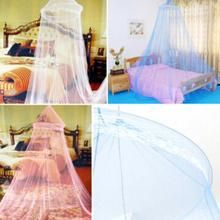 Hot 1 unid Elegante Ronda Insectos Lace Bed Canopy Red Curtain Dome Mosquito Net Worldwide