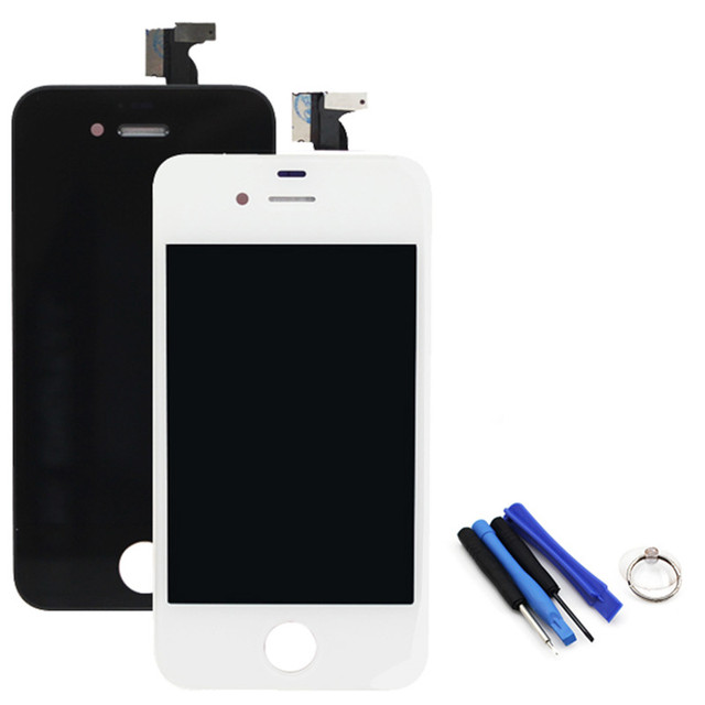 Competitive AAA Screen Assembly Touch Digitizer LCD Display Screen for iphone4 Replacement Black/White+Tools