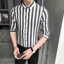 YASUGUOJI New 2019 Summer Fashion Slim Fit Shirt Men Non Iron Shirts Half-sleeve Dress Shirt Men Vertical Striped Shirts for Men