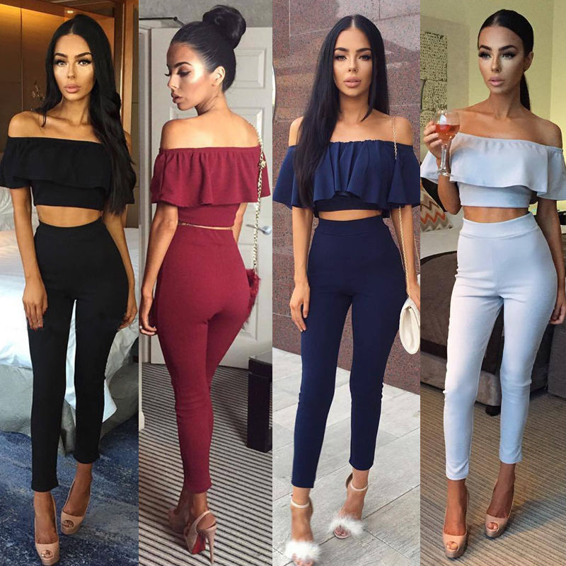 New Fashion Women Clothing Short Sleeve Crop Top Blouse + Long Pants Two-piece Playsuit  ...
