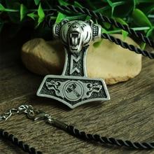 1 unids al por mayor oso Thor Hammer colgante vikingo nórdico Noruega Dirigido Doble lobo collar colgante de los hombres Amuletos joyería