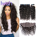 Iwish 7A Peruvian Water Wave With Frontal Closure Human Hair With frontal Wavy Virgin Hair Lace Frontal Closure With Bundles