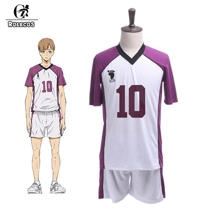 ROLECOS Anime Haikyuu Cosplay Third Season Shiratorizawa Gakuen Koukou Cosplay Costume Wakatoshi Ushijima Cosplay Costume Men