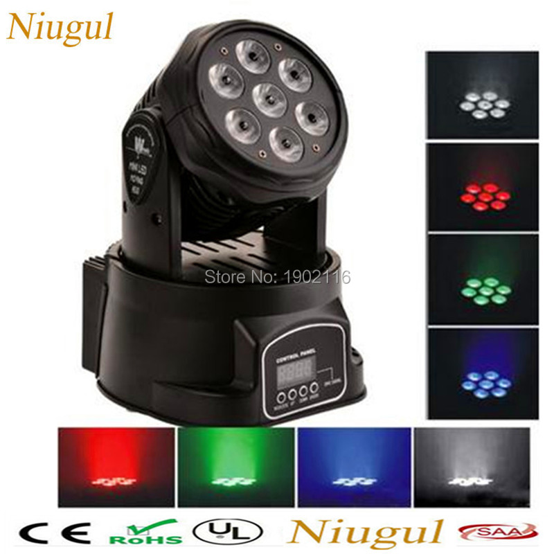 Niugul 7x12W RGBW mini led wash moving head light DMX512 LED wash lamp 14 channels LED stage effect lighting KTV dj disco lights 2pcs lot 10w spot moving head light dmx effect stage light disco dj lighting 10w led patterns light for ktv bar club design lamp