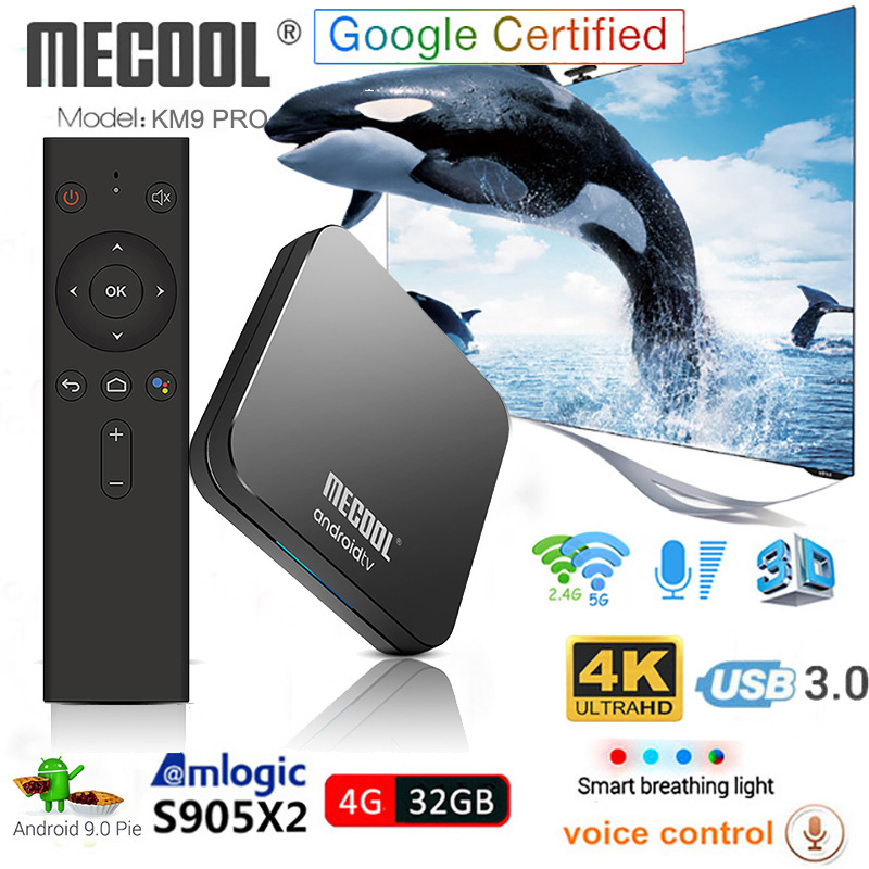 KM9 Pro Android 9.0 Smart TV Box commande vocale S905X2 4 GB DDR4 RAM 32 GB ROM 2.4G/5G WiFi Bluetooth 4 K TV Box Mecool décodeur